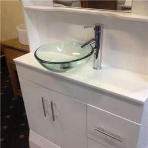 Combined vanity unit glass bowl sink hydra shower enclosure cubicle ...