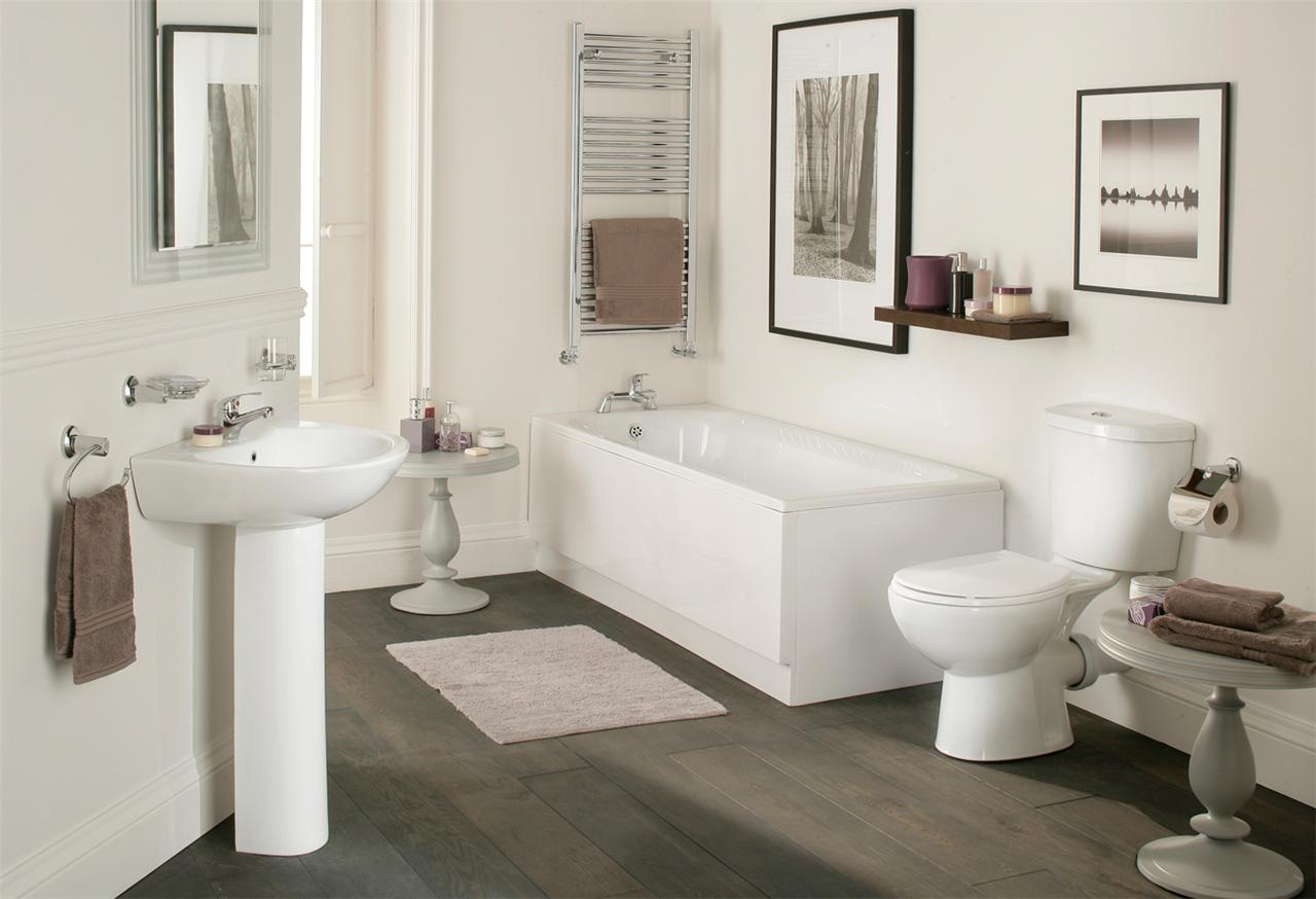 Galaxy Modern Bathroom Suite White Bath Toilet Sink Basin