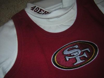 San Francisco 49ers Girl's Cheerleader Skirt Onesie 2 PC Outfit 12 Months
