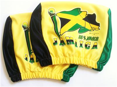 jamaica flag irie reggae 2 piece car seat head rest covers ebay. Black Bedroom Furniture Sets. Home Design Ideas