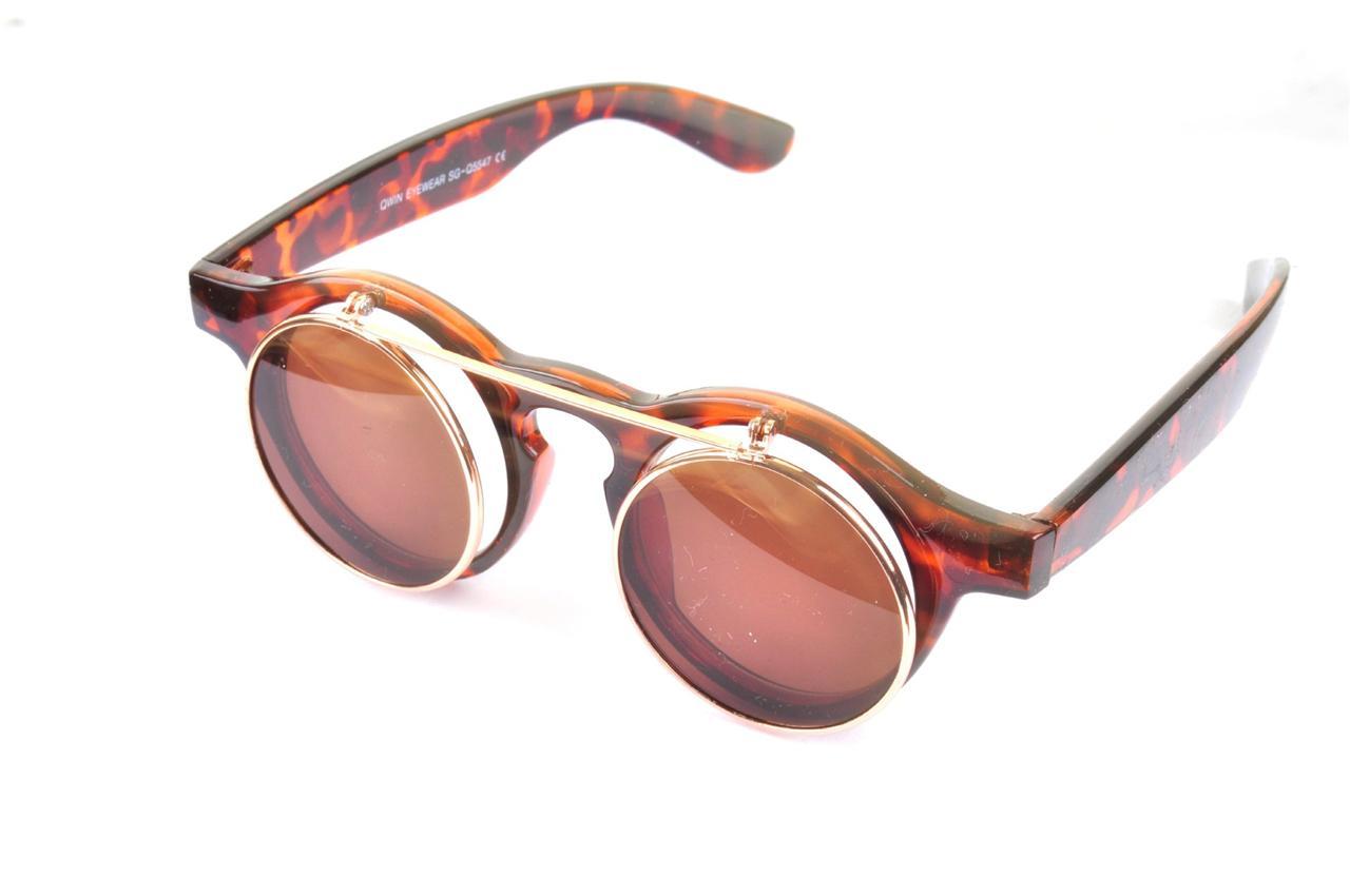 Vtg 50 s style flip up tortoiseshell steampunk sunglasses retro round
