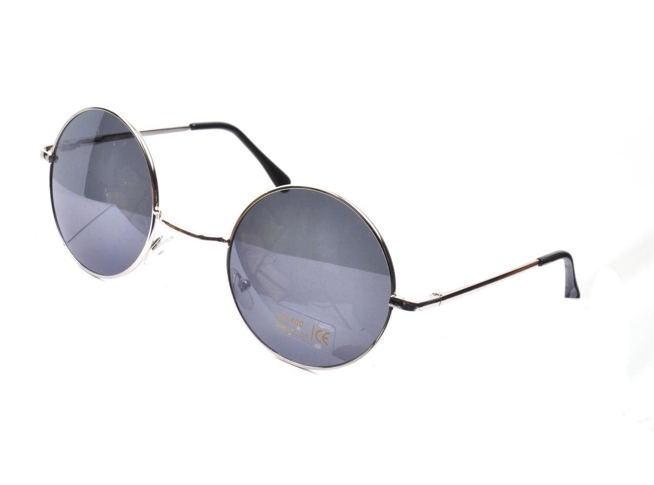 Vtg style silver round lens 90s steampunk glasses sunglasses goggles