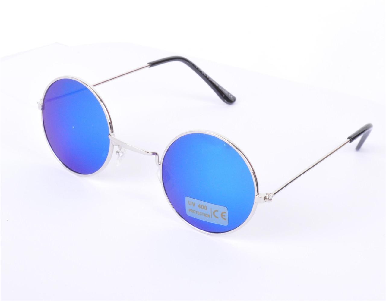 90s Sunglasses  vtg round reflective blue lens 90s john lennon glasses sunglasses