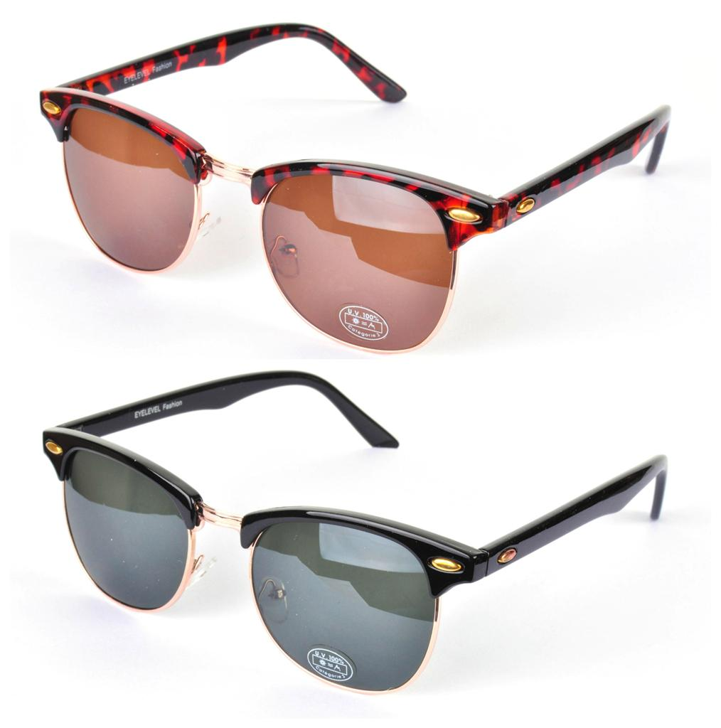 Retro 80s 90s Style Clubmaster Sunglasses Vtg Black Brown ...