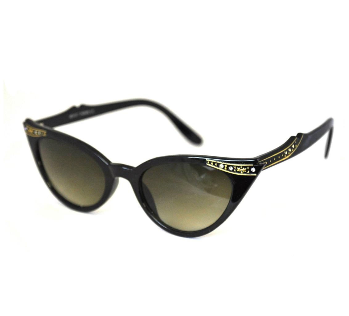 Retro-50s-60s-Style-Cats-Eye-Diamante-Sunglasses-Pointed-Rockabilly-Vtg-NEW-BNWT