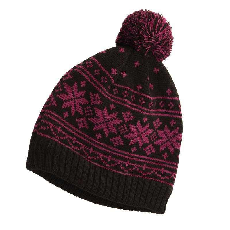 VTG Style Snowflake Bobble Hat Icelandic Nordic Xmas Beanie Pompom Hat 4 Colours