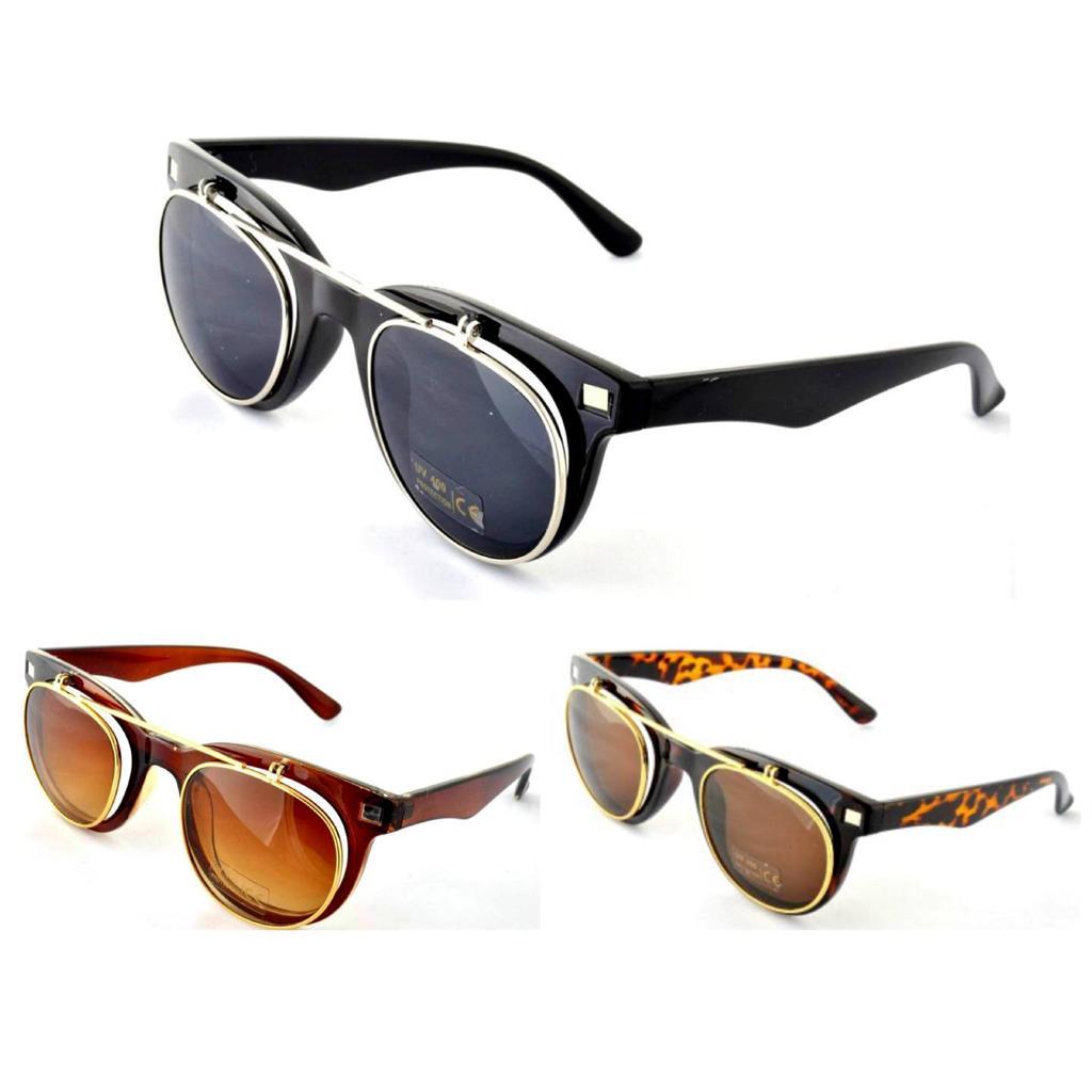 Vtg 50 039 s style flip up brown wayfarer sunglasses retro steampunk
