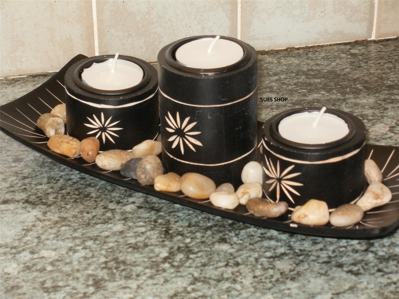 3-BLACK-BAMBOO-CANDLE-HOLDERS-TRAY-POLISHED-STONES-NEW-IN-BOX-GREAT-GIFT-SET