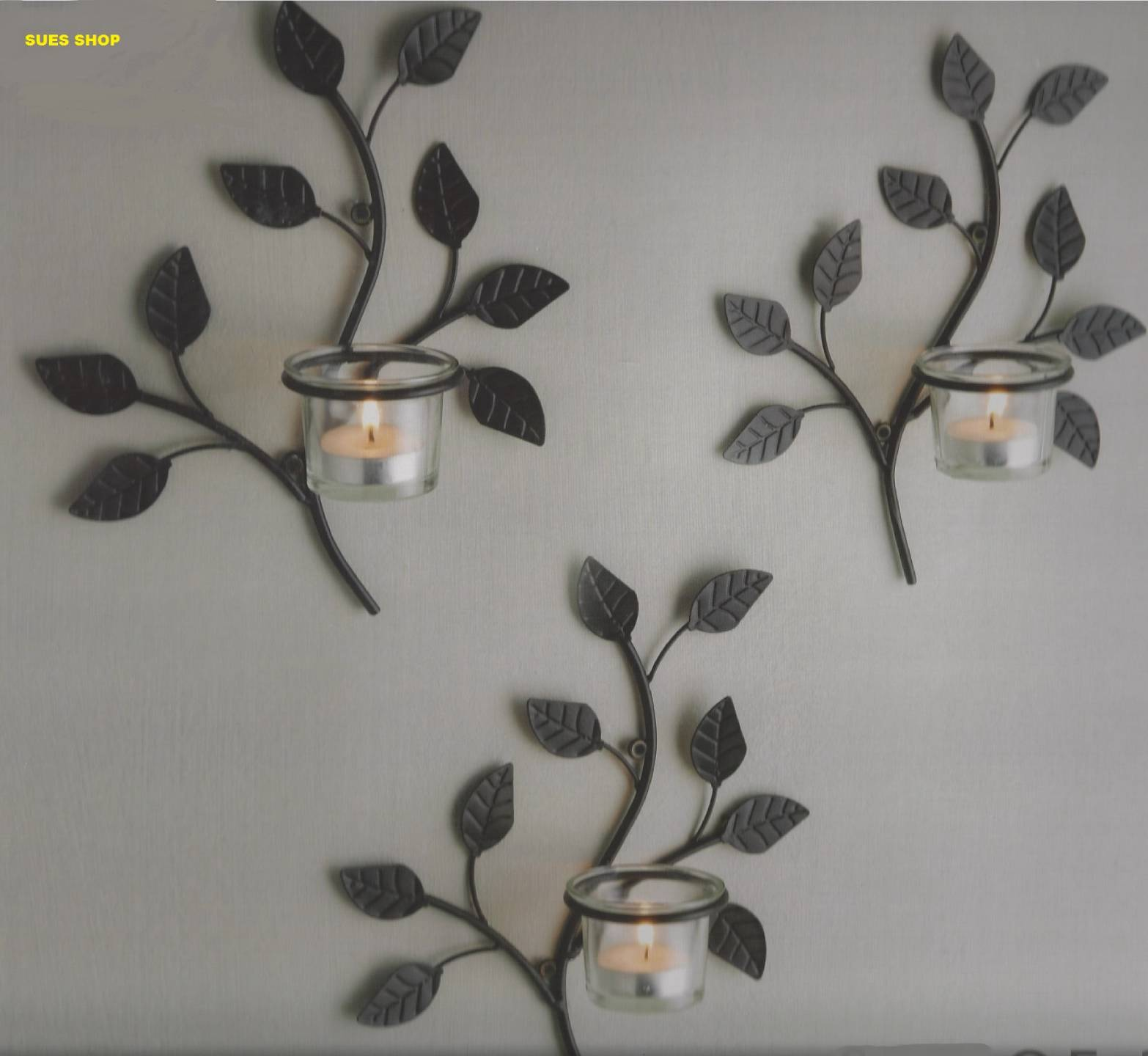 SET-of-3-BLACK-LEAF-SHAPE-WALL-ART-SCONCE-METAL-TEA-LIGHT-GLASS-CANDLE-HOLDERS