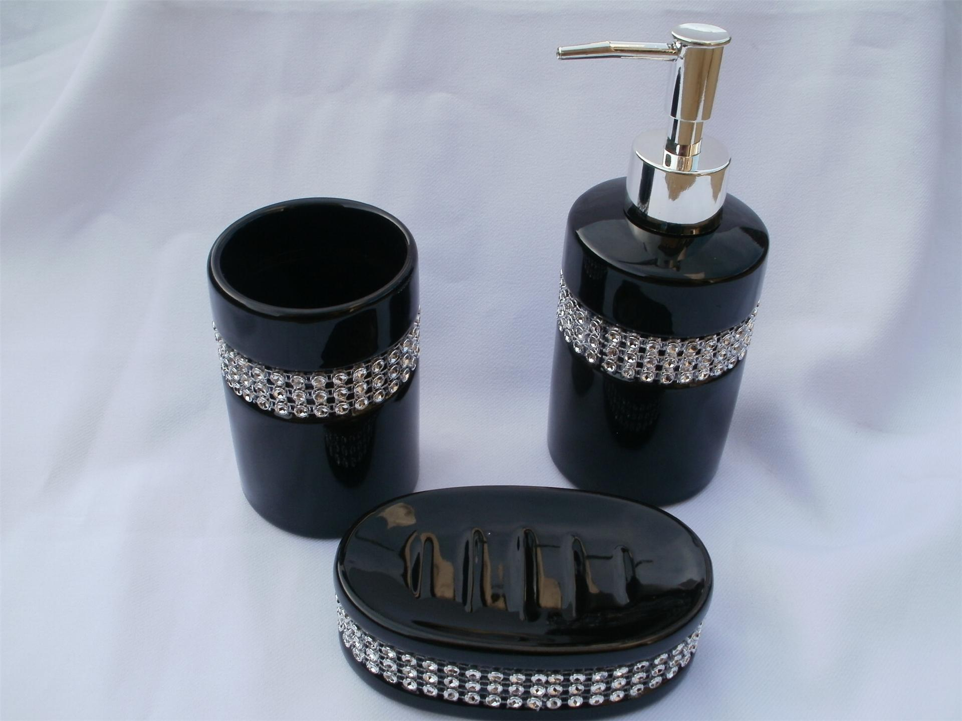 3 piece black ceramic diamante sparkle bling bathroom for Black bath accessories sets