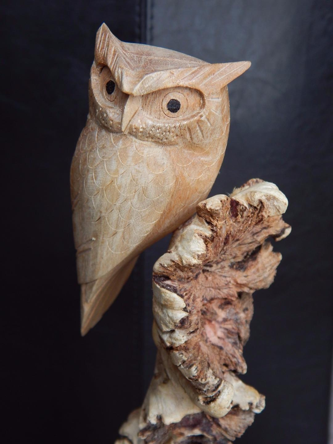 Fair trade carved parasite wood carving owl cockatoo bird