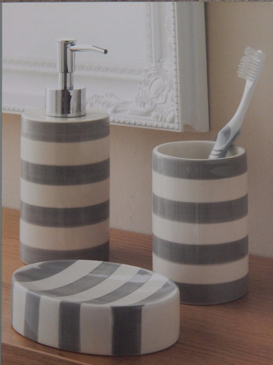 Grey or aqua blue white striped 3 piece bathroom set soap for Blue and gray bathroom accessories