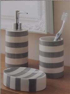 Grey or aqua blue white striped 3 piece bathroom set soap for Gray bathroom accessories set