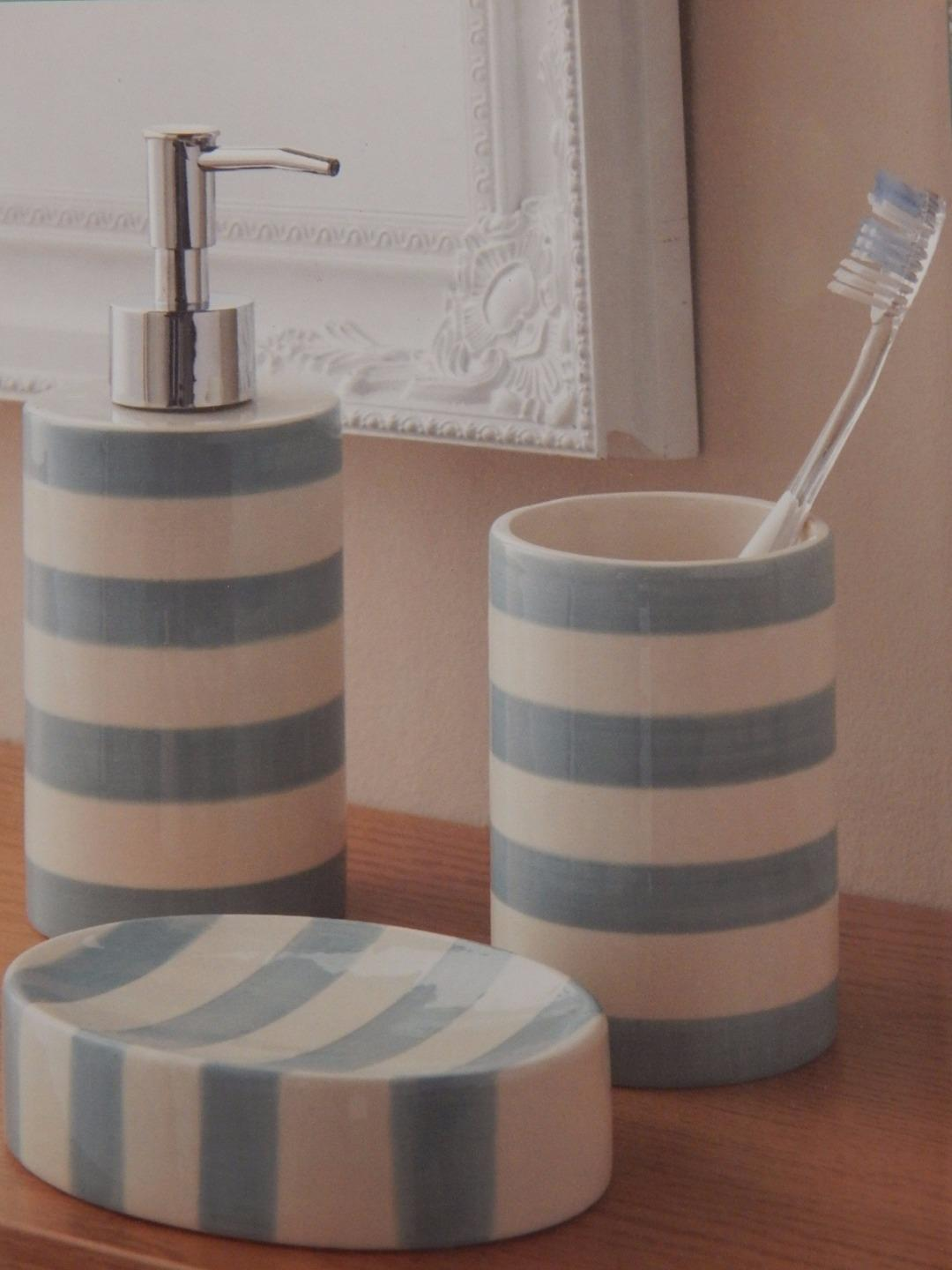 Grey or aqua blue white striped 3 piece bathroom set soap for Blue and grey bathroom sets