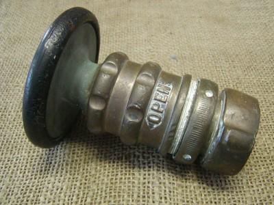 Vintage Brass Fire Hose Nozzle Antique Old Elkhart