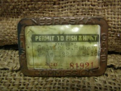 Vintage 1939 hunting fishing license antique nebraska ebay for Nebraska fishing permit