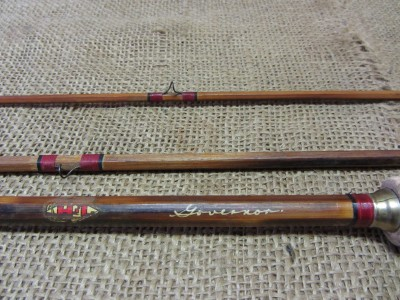 Vintage govenor 3 pc wooden fishing pole case old for Wooden fishing pole