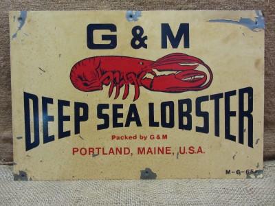 Vintage 1965 G M Deep Sea Lobster Metal Sign Antique Old