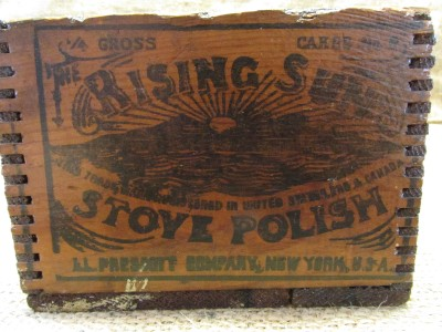 Vintage wooden Rising Sun Stove Polish shipping box. The wood is old and  very weathered which gives it a wonderful primitive appearence. - Vintage Rising Sun Stove Polish Wooden Shipping Box > Antique