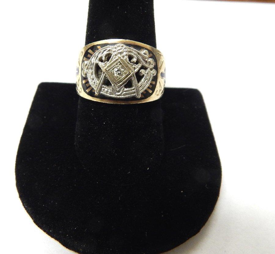 10kt gold mens antique masonic enameled ring ebay