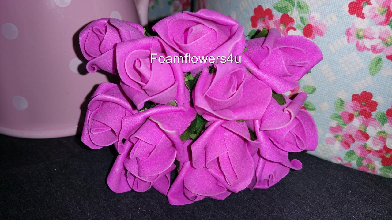 3 Bunches Rosebud Foam Rose Colourfast  Bouquet Wedding 12 Flower Heads 36 Heads