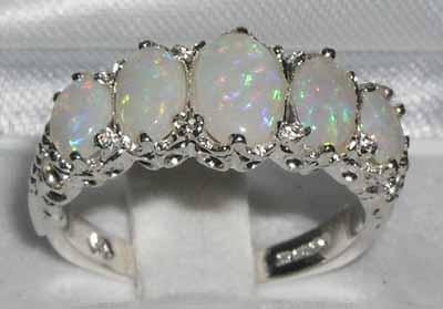 Sterling-Silver-Opal-Ring-5-Opals-Oval-Cut-ALL-SIZES