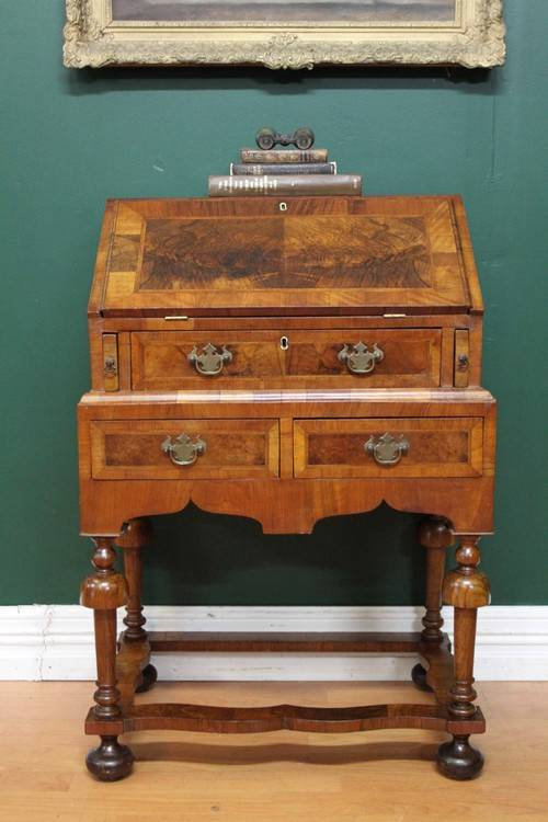 Antique dutch burr walnut 3 drawer office study writing for Bureau hardware
