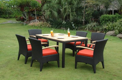 Teak Patio Dining  on Bellagio 7pc Rattan   Teak Dining Table Patio Set