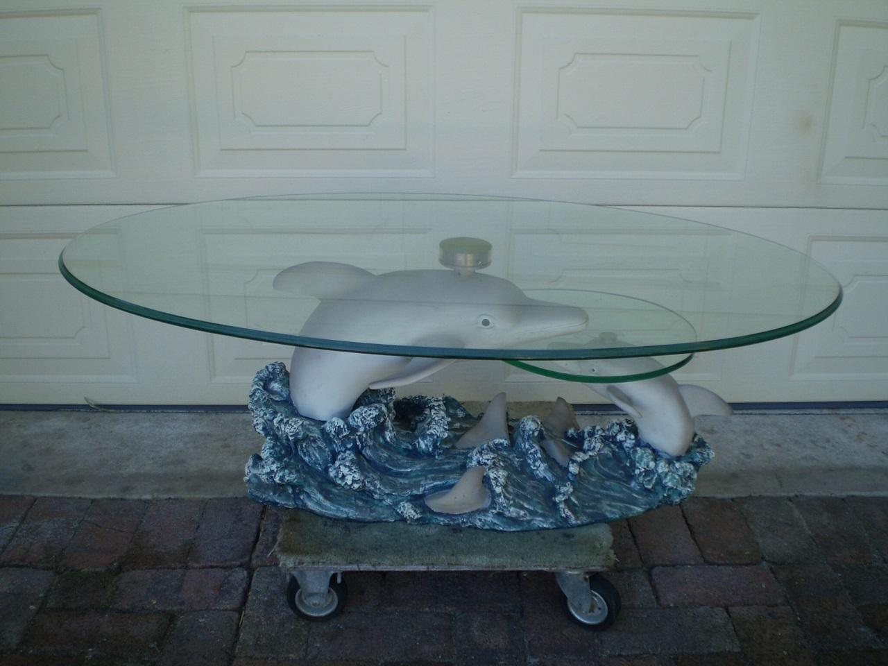 2 Tiered Swivel Glass Coffee Table With Dolphin Coral Base Perth Pick Up Ebay