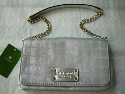 Kate Spade Silver Mini Mirra Thompson Noel Purse $175