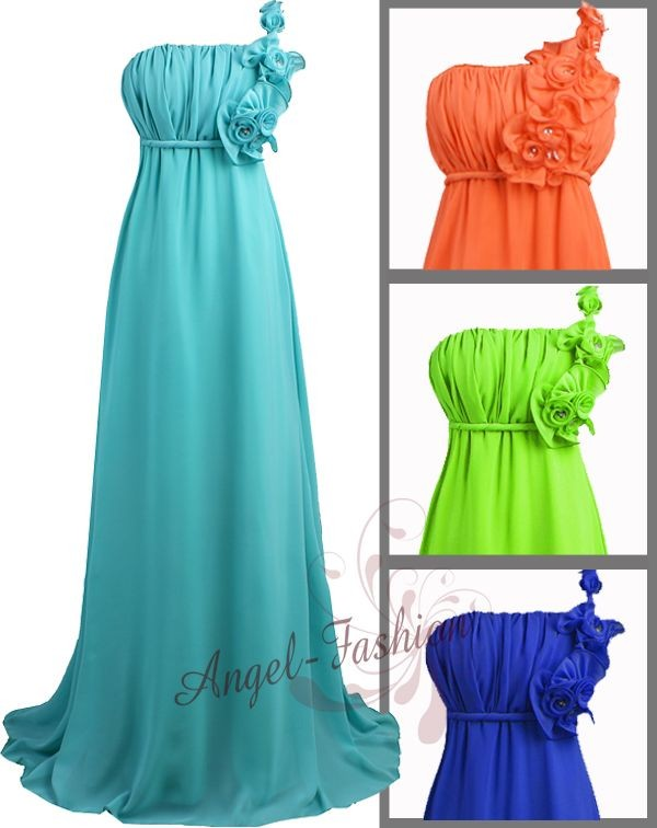 Stylish-One-Shoulder-Beaded-Flower-Chiffon-Evening-Dress-S-M-L-XL-2XL