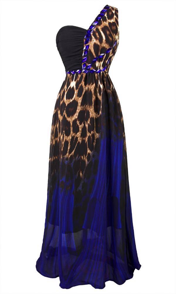One Shoulder Leopard Print Rhinestone Maxi Evening Dress S M L XL 18