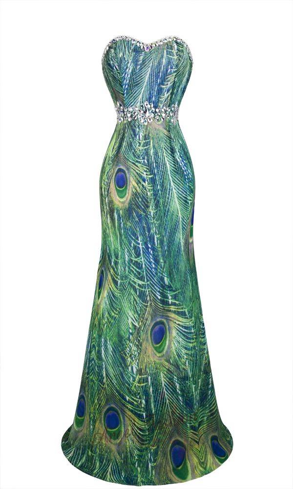Strapless Rhinestones Peacock Feather Printed Chiffon