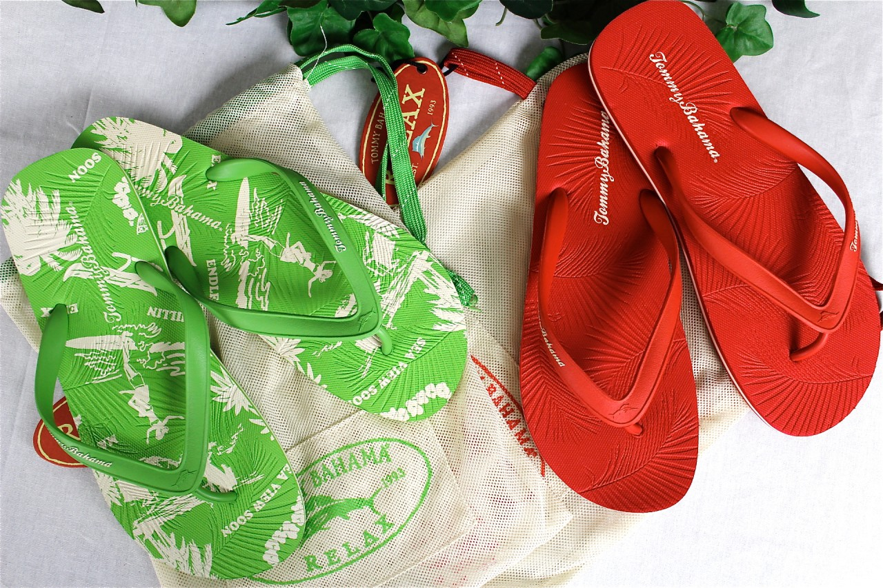 NEW-TOMMY-BAHAMA-Mens-Zumi-Red-Green-Flip-Flops-Sandals-Thong-Shoes-US-11-NWT