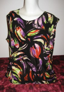 Made in Heaven Slinky Top Shell Shirt 2X Women 2 x Plus Print Traveler