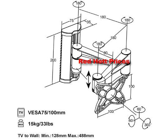 """Full Motion Wall Mount for Samsung LED LCD 19"""" 22"""""""