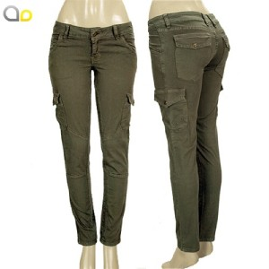 Green Skinny Cargo Pants For Women