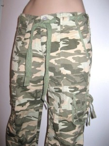 juniors Feline CAPRI camouflage CAMO CARGO PANTS olive NEW ...