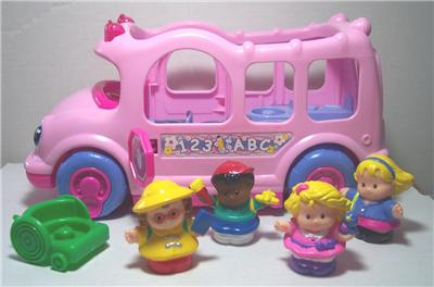 Fisher Price Little People Sound Light Pink School Bus 4 Figures Wheel Chair