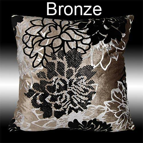 2X SILVER BLACK FLORAL VELVET THROW PILLOW CASES CUSHION COVERS 17""