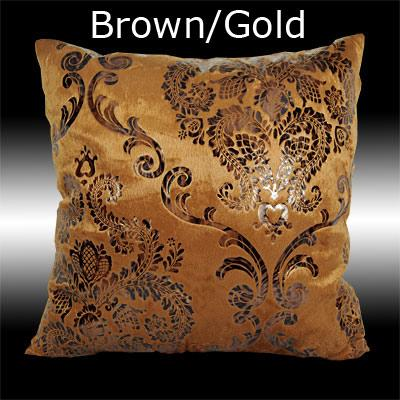 Gold Damask Throw Pillow : 2X RARE GOLD/SILVER DAMASK PRINT VELVET CUSHION COVERS THROW PILLOW CASES 17