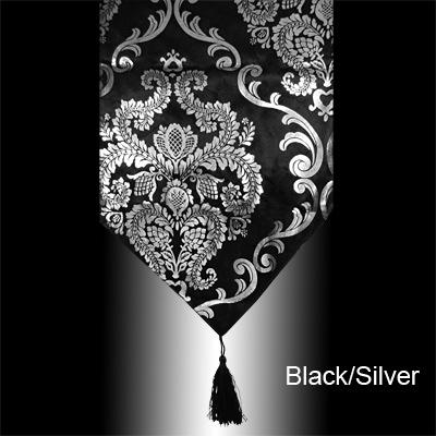 Merveilleux Lovely LUXUARY SILVER/GOLD DAMASK VELVET TABLE RUNNER CLOTH