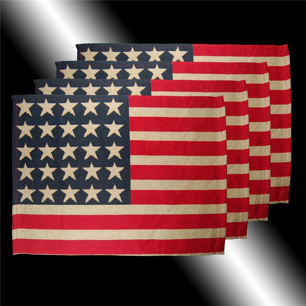 Rare Red Blue White Stars Stripes Usa Flag Cushion Covers