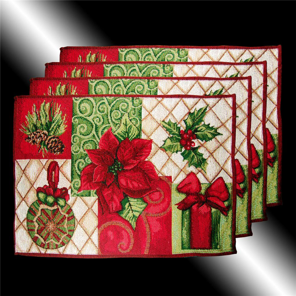 High Quality SET RARE RED CHRISTMAS POINSETTAS TAPESTRY CUSHION COVERS