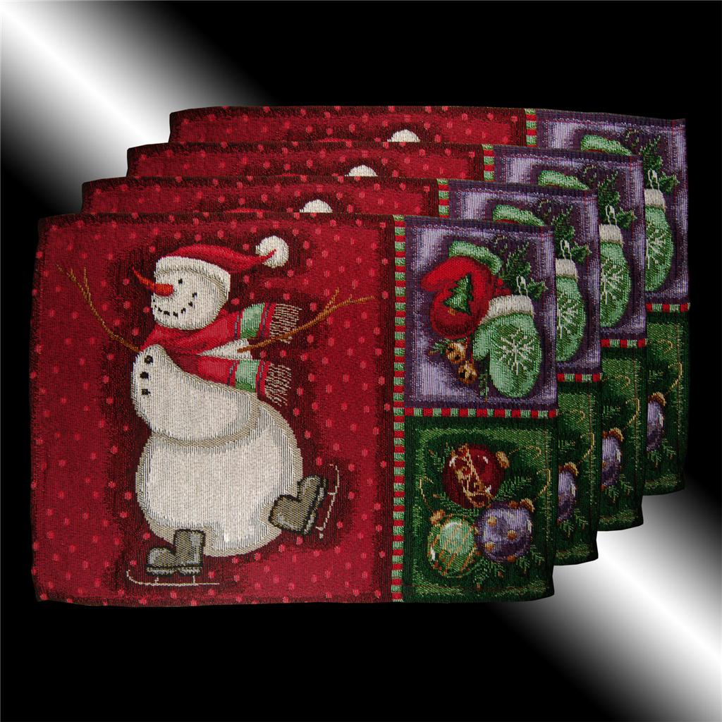 Awesome SET VINTAGE RED CHRISTMAS SNOWMAN TAPESTRY CUSHION COVERS