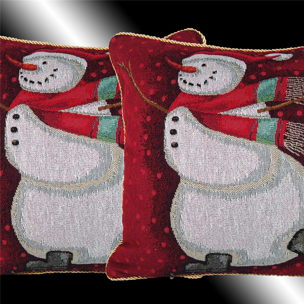 SET VINTAGE RED CHRISTMAS SNOWMAN TAPESTRY CUSHION COVERS