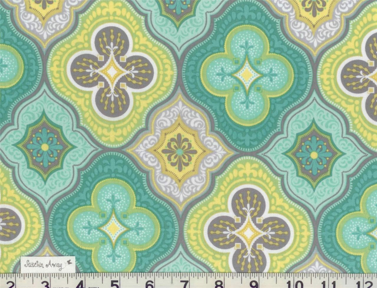 Details about MORRACAN Quilting FABRIC 100% Cotton Gray, Aqua, Lime ...