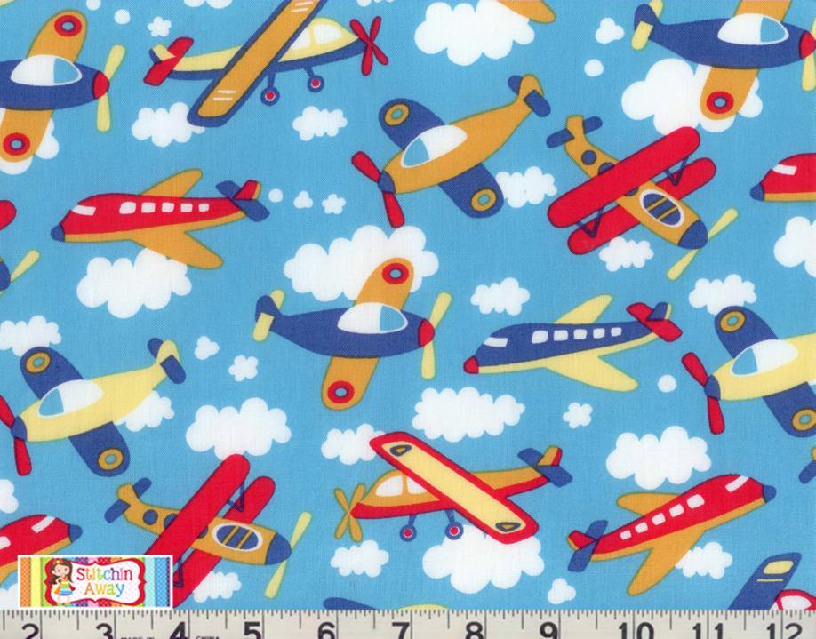 airplanes clouds fabric quilting sewing blue kids boys