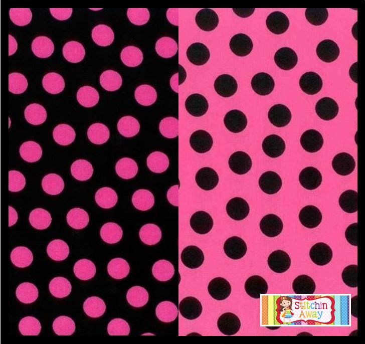 medium hot pink amp black polka dots fabric for quilting sewing 100 cotton bty ebay. Black Bedroom Furniture Sets. Home Design Ideas