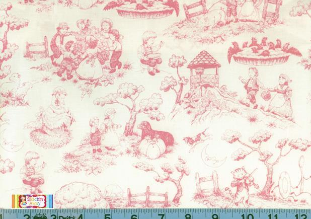 Nursery rhyme toile fabric quilting sewing new pink and for Pink nursery fabric